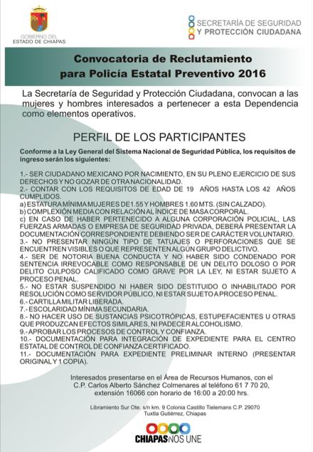 Ssypc abre convocatoria para polic a estatal preventivo 2016 for Portal de servicios internos policia